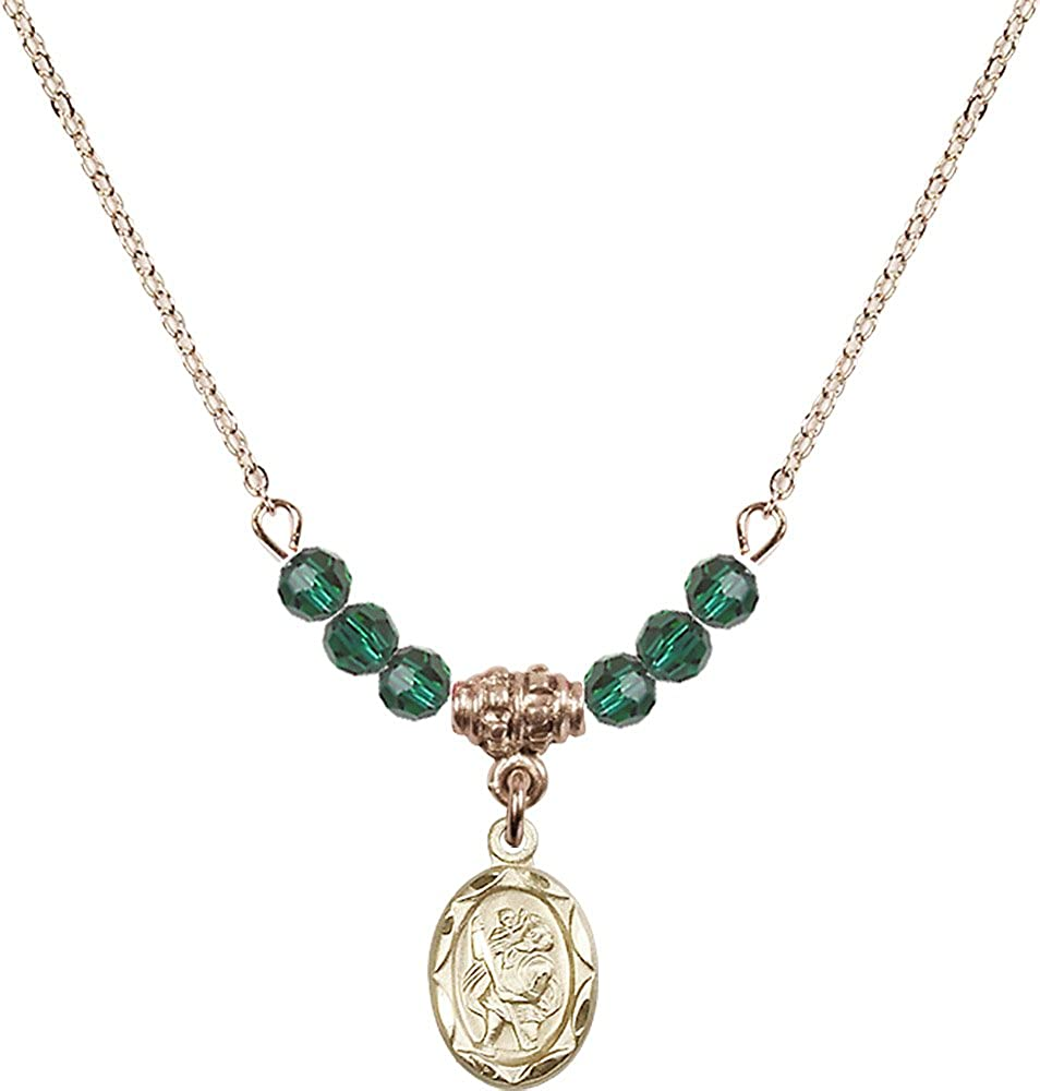 18-Inch Hamilton Gold Plated Necklace with 4mm Emerald Birthstone Beads and Gold Filled Saint Christopher Charm.
