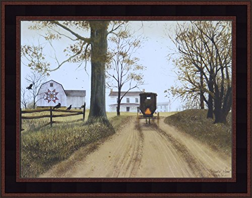 Headin' Home by Billy Jacobs 15x19 Farmhouse Barn Amish Buggy Country Primitive Folk Art Print Wall Décor Framed Picture