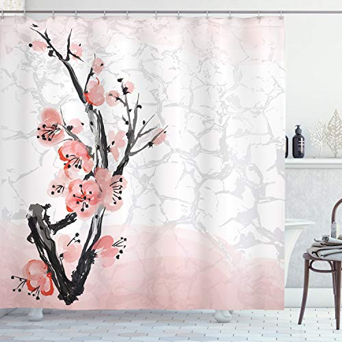Ambesonne Floral Shower Curtain, Japanese Cherry Blossom Sakura Tree Branch Soft Pastel Watercolor Print, Cloth Fabric Bathroom Decor Set with Hooks, 70
