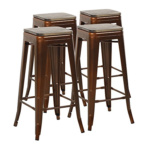 Bronze Stool Bar Wood Finish (Mimo Life Metal Modern Barstool Set of 4 Backless Indoor Outdoor Stackable Bar Stools with Square Seat, 31 Inches High, Bronze with Wood Top)