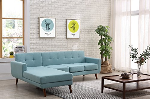 - Container Furniture Direct S0123L-2PC Andy Linen Upholstered Midcentury Modern Left-Sided Sectional Sofa, 69.29