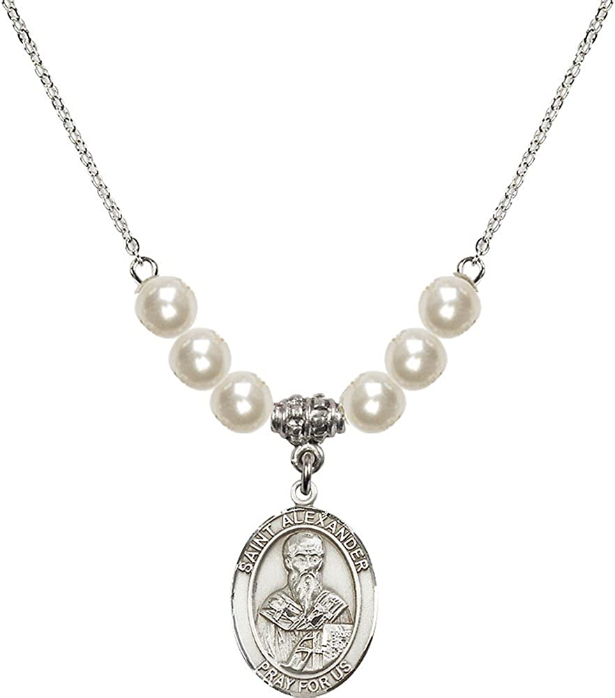 18-Inch Rhodium Plated Necklace with 6mm Faux-Pearl Beads and Sterling Silver Saint Alexander Sauli Charm.