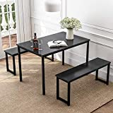 Rhomtree 3 Pieces Dining Set Table with 2 Benches Kitchen Dining Room Furniture Modern Style Wood Table Top with Metal Frame (Black)