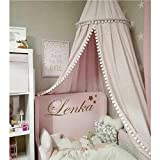 baby girls room LOAOL Kids Bed Canopy with Pom Pom Hanging Mosquito Net for Baby Crib Nook Castle Game Tent Nursery Play Room Decor (Pink)