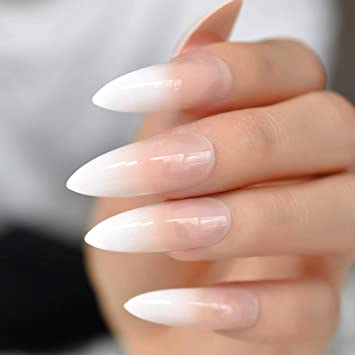 CoolNail Gradeint Natural Nude Pink Stiletto False Fake Nails Ombre French Extra Long Pointed Salon Press...