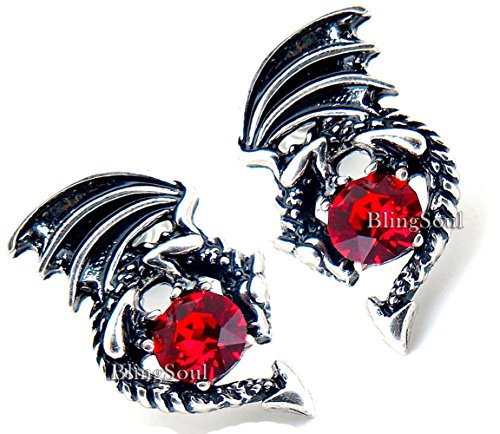 - Game Crystal Stud Dragon Earring - Merchandise Jewelry Gifts Collection Silver