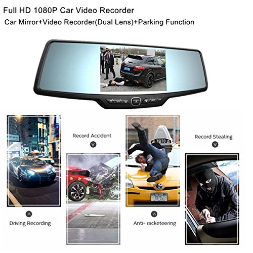 Dash Cam,4.3'' Full HD 1080P Rearview Mirror Dual Lens Video Recorder Car DVR 170 Degree Wide Angle, Loop Recording,G-Sensor,Parking Monitor,Reverse Image by Range Tour (Image #1)