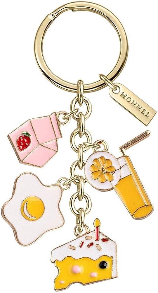Monnel New Arrival Cute Orange Juice Poached Egg Cake Milk Charms Pendants Keychain with Velvet Bag Z570
