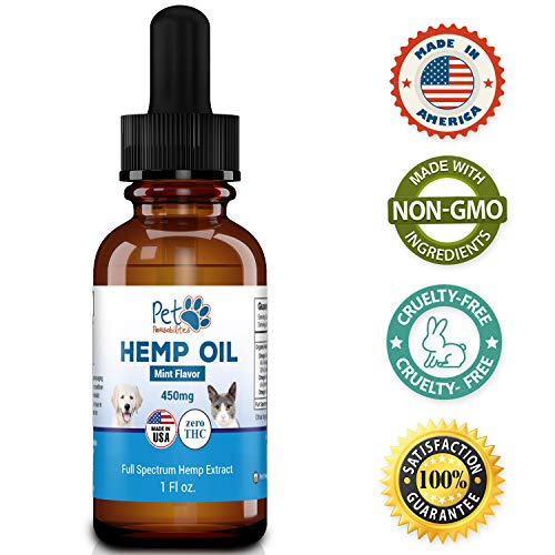 Full Spectrum Hemp Oil For Dogs and Cats 450mg, Grown and Made in the USA, Organic Hemp Extract, All Natural Pain Relief, Stress and Anxiety Support, Hip and Joint Support, With Omega 3,6 & 9 Oils