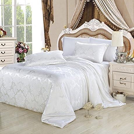Orifashion Limited Edition 4 Piece 100 Silk White Retro Floral Jacquard Sheet Set California King Size