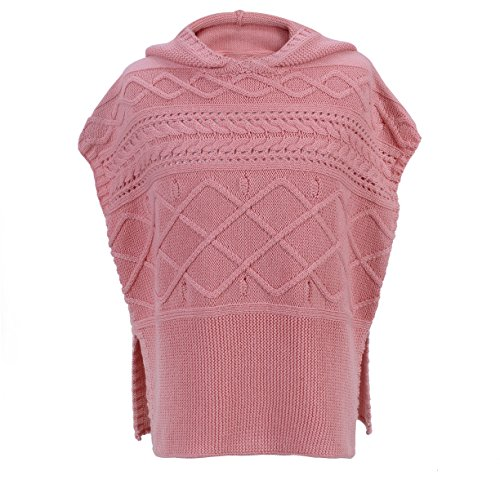 Nylon Kids Pullover - PuTian Kids- Girl Knitted Sweater Poncho Pullover with Hood-Pink-[6-7Years]