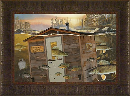 Fish Cave By Todd Thunstedt 17.5x23.5 Bait Lake Walleye Sauger Fish Fishing Bass Musky Muskellunge Mille Lacs Boat Trolling Motor Ice House Pro Shop Trolling Motor Framed Art Print Wall Décor Picture