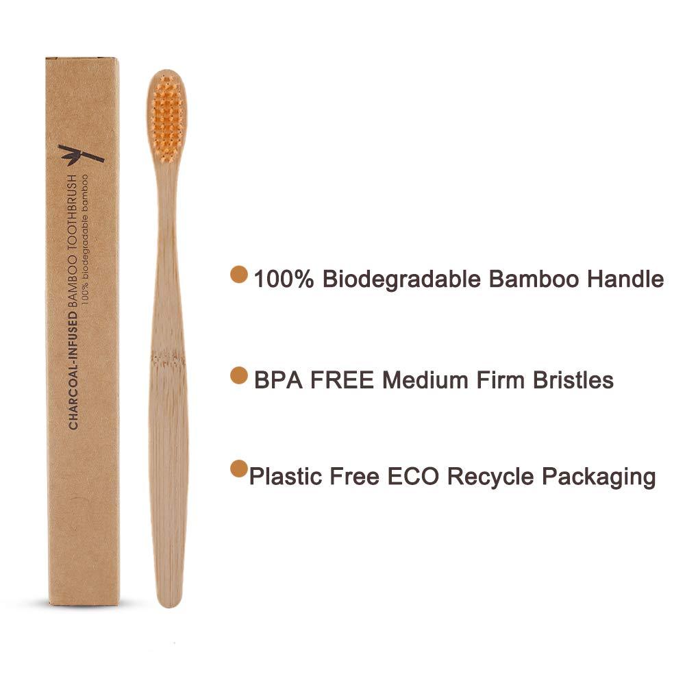 Lot de 8 brosses /à dents en bambou 100/% biod/égradables et recyclables sans BPA Poils mi-fermes Respectueux de lenvironnement