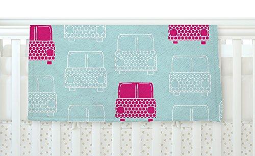 40 x 30 KESS InHouse Michelle Drew Beep Beep Magenta Aqua Fleece Baby Blanket