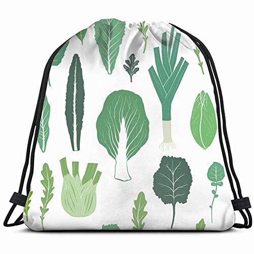 hand drawn salad greens food and drink fruit nature Drawstring Backpack Gym Sack Lightweight Bag Water Resistant Gym Backpack for Women&Men for Sports,Travelling,Hiking,Camping,Shopping Yoga ()