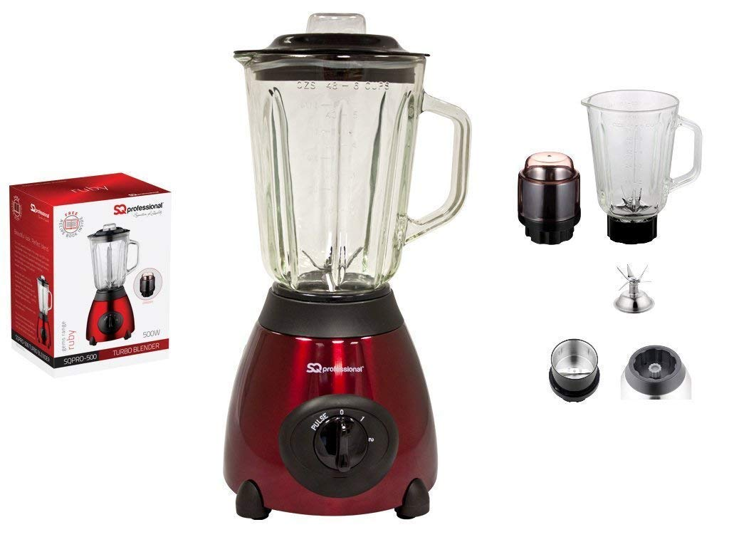 Gems Range Metallic Turbo Luminate 500W Crushing Blender 1.5L Glass Measuring Jug & Grinder For Dry Ingredients Food Processor Mixer Smoothie Maker BPA Free Ruby Red Kitchenware & Household Products By Exxcel Creation