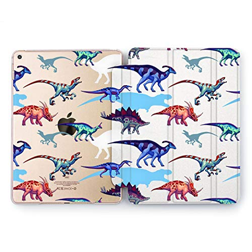 Wonder Wild Colorful Dinosaurs Apple iPad Pro Case 9.7 11 inch Mini 1 2 3 4 Air 2 10.5 12.9 2018 2017 Design 5th 6th Gen Clear Smart Hard Cover Ancient Creatures Dino Dyno Colorful Kids Raptor Roar -