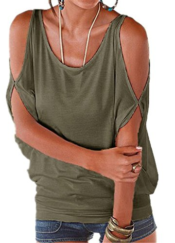 Yknktstc Womens Cold Shoulder Tops Short Sleeve T Shirt Pullover Casual Dolman Blouse Medium Army Green