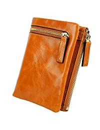 Yaluxe Women's Compact Small Soft Cowhide Leather Wallet with Zipper Pocket ID Window Camel Brown