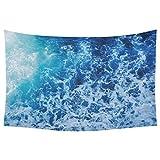 InterestPrint Mediterranean Aegean Sea Home Decor Tapestries Wall Art, Blue Ocean Sea Wave Tapestry Wall Hanging Art Sets 90 X 60 Inches