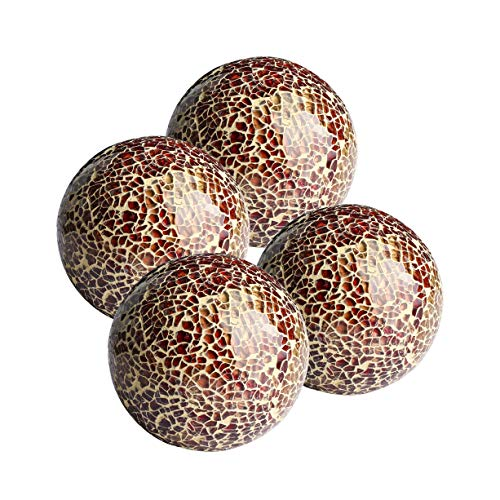 Whole Housewares Glass Decorative Balls Set of 4 Glass Mosaic Sphere Dia 3