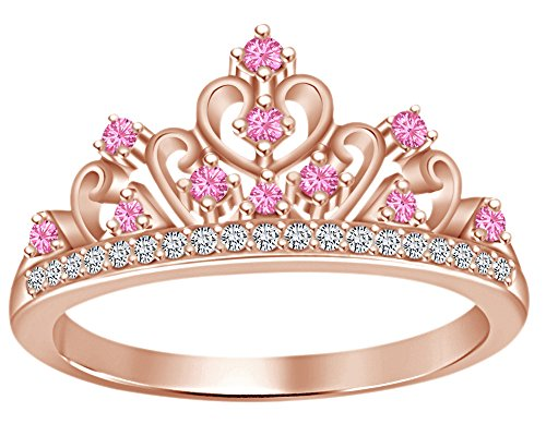 - Round Cut Simulated Multi Stone Aurora Princess Style Engagement Wedding Crown Ring in 14k Rose Gold Over Sterling Silver with Ring Size 6