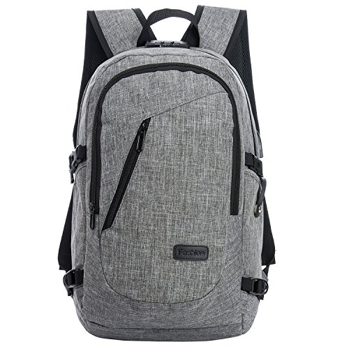 Multipurpose Laptop Backpack for adults and teenager – Student, Traveller and Business people with antitheft, waterproof polyester and USB Charging Port. Lightweight, Cheap but Fancy, Unisex (GREY) For Sale