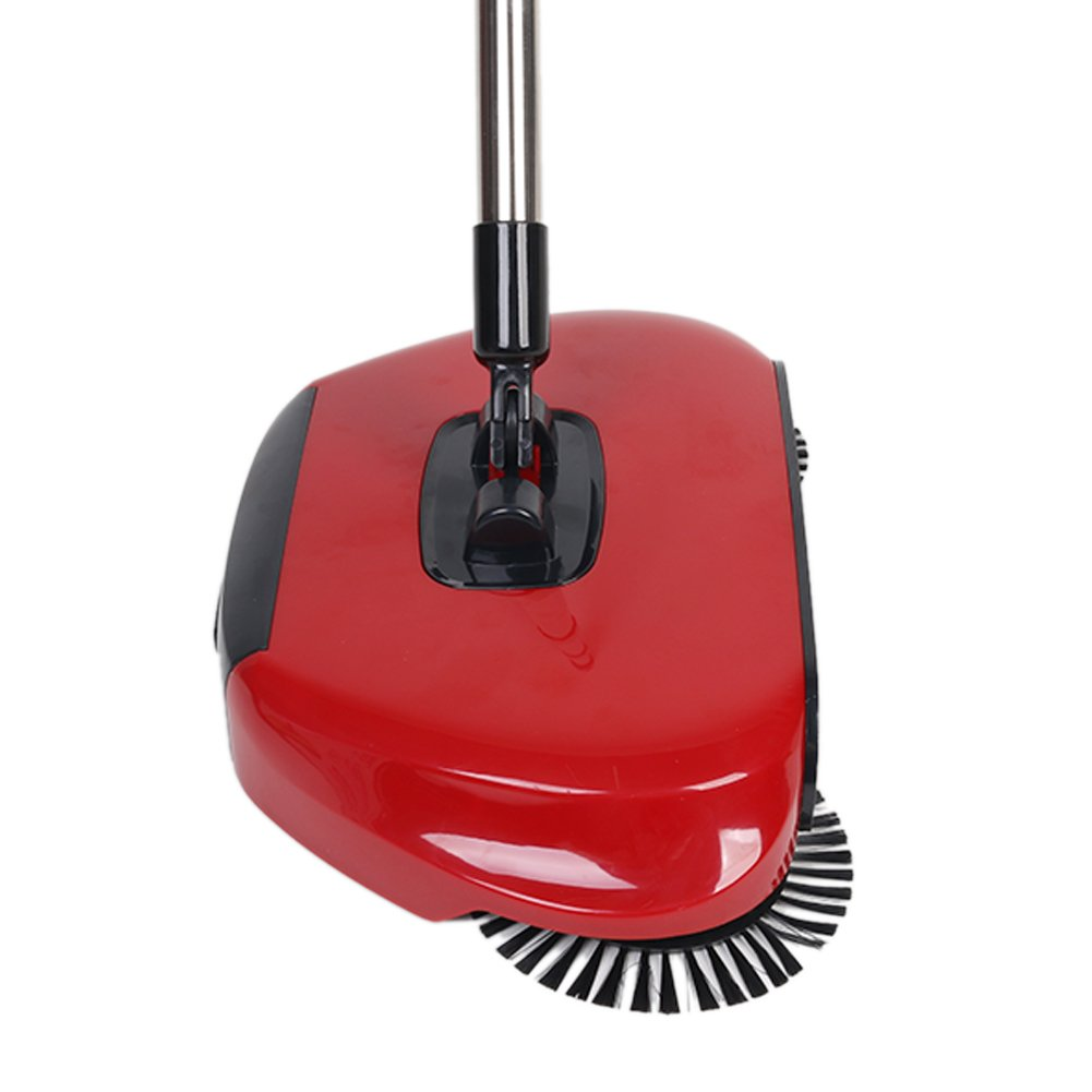 360 Degree Rotating Household Automatic Hand Push Sweeper Broom, Multi-Functional Profession Vacuum Cleaner Sweeping Robot without Electricity, 3 in 1 Dustpan and Trash Bin Floor Cleaning System (red) by YOUBEST (Image #2)