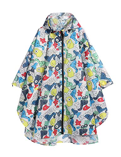 LOHASCASA Women's and Big Gril's Waterproof Raincoat Lightweight Packable Rain Coat Poncho Hooded Cartoon ()