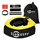 Trekassy 35,000 lbs Tow Strap 3'' x 20 ft Heavy Duty Extra Thick Snatch Strap with Triple Reinforced Loops + 1 Reflective Sleeve + 2 Protective Sleeves + 1 Carry bag