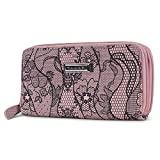 Tahari Double Date Zip Around Womens RFID Clutch Wallet Organizer (Dusty Rose (Metallic Lace Floral))