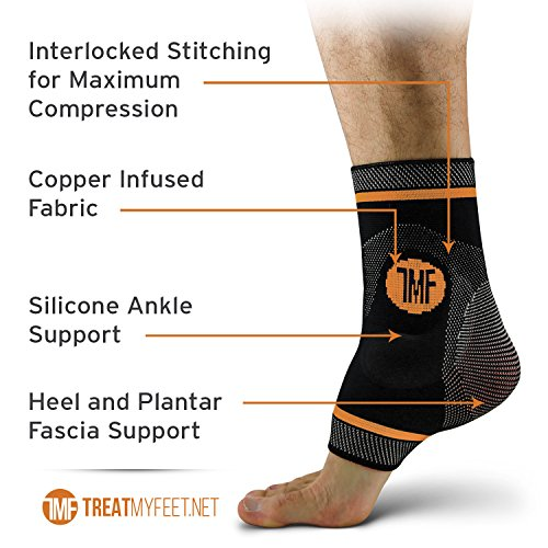 Pair of Copper Infused Compression Ankle Brace, Silicone Ankle Support w/Anti-Microbial Copper. Plantar Fasciitis, Foot, Achilles Tendon Pain Relief. Prevent and Support Ankle Injuries & Soreness by Treat My Feet (Image #3)