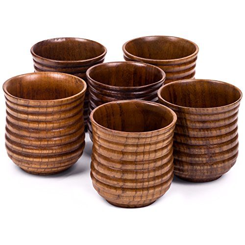 Small Wooden Cups 5.75 oz - Set of 6 - For drinking Tea, Coffee, Wine, Beer, Hot Drinks - Dark Ribbed (Beer Mugs In Bulk)