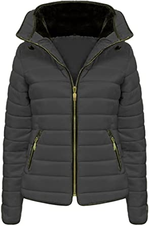 New Womens Ladies Padded Stripe Puffer Zip Quilted Bubble Jacket Coat Top