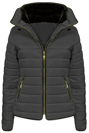 fca61ded FASHIONCHIC New Womens Ladies Fur Collared Hooded Quilted Padded Puffer  Bubble Jacket Coat UK SIZE 6