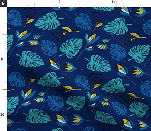 Spoonflower Blue Monstera Fabric - Botanical Tropical Jungle Summer Leaves Paradise Garden Boys Print on Fabric by The Yard - Basketweave Cotton Canvas for Upholstery Home Decor Bottomweight Apparel