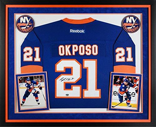 Authentic Blue Reebok Autographed Jersey (Kyle Okposo New York Islanders Deluxe Framed Autographed Blue Reebok Premier Jersey - Fanatics Authentic Certified)