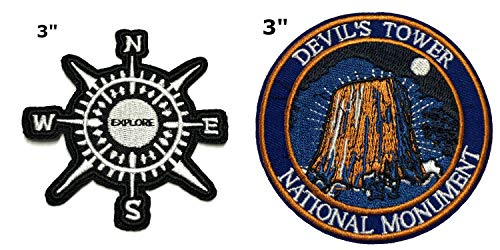 Explore and Devil's Tower National Park Series 2-Pack Embroidered Patch Iron-on Sew-on Explore Nature Outdoor Adventure Explorer Souvenir Travel Vacation Emblem Badge