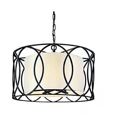 Troy Lighting Sausalito-Light Pendant - Hardback Linen Shade