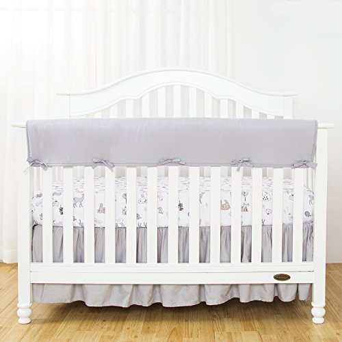 TILLYOU 1-Pack Padded Baby Crib Rail Cover Protector Safe Teething Guard Wrap for Long Front Crib Rails(Measuring Up to 18 Around), 100% Silky Soft Microfiber Polyester, Reversible, Pale Gray/White