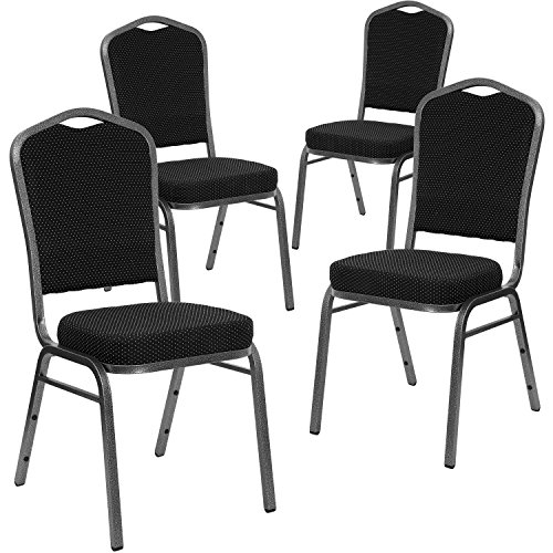 (Flash Furniture 4 Pk. HERCULES Series Crown Back Stacking Banquet Chair in Black Dot Patterned Fabric - Silver Vein Frame)