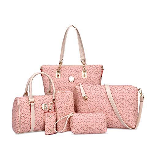 - Women Handbag Set 6 Pcs PU Leather Tote Purse Set Multi-purpose Classic Shoulder Bag (Pink)