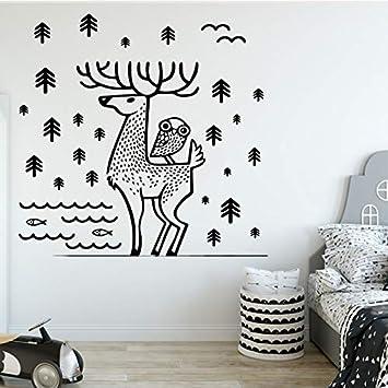 supmsds Creativo Elk Etiqueta de la Pared Decoración del hogar Decoración Decoración de la Sala de jardín de Infantes Impermeable Arte de la Pared 104X100CM