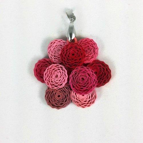 Amazon quilling paper flower cluster necklace handmade peony quilling paper flower cluster necklace handmade peony dahlia pendant ecofriendly jewelry mightylinksfo