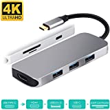 USB C to HDMI Adapter, USB Type C Hub HDMI 4K with PD+3USB3.0+SD/TF Card Reader 7 in 1 Multiport for MacBook Pro 2018/2017/2016, Samsung Galaxy Note 8/Note 9/S8/S8+/S9/S9+