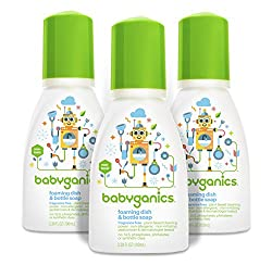 Babyganics Foaming Dish and Bottle Soap, Fragrance Free, On-The-Go 100ml (3.38oz), Bottle (Pack of 3)