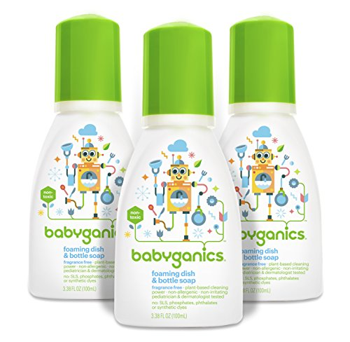 - Babyganics Foaming Dish and Bottle Soap, Fragrance Free, On-The-Go 100ml, 3.38 oz.  (Pack of 3), Packaging May Vary