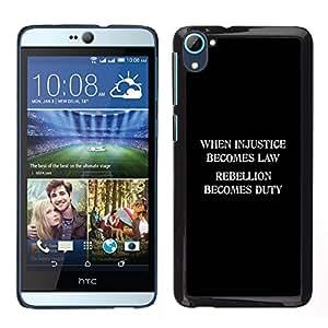 Injusticia Ley Libertad Rebelión Deber- Metal de aluminio y de plástico duro Caja del teléfono - Negro - HTC Desire D826
