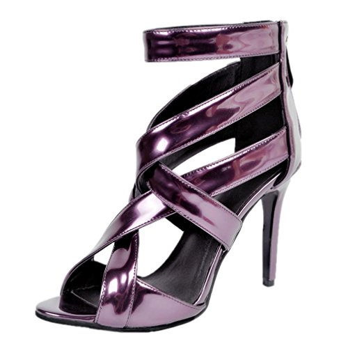 YCMDM Women's Sandals Stiletto Heel Patent purple leather high quality Nightclub Party Evening Office Career Fashion Shoes , 39 , deep purple