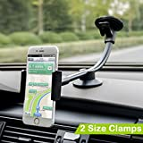 Car Mount, 2 Clamps Long Arm Universal Windshield Dashboard Car Phone Mount Holder Cradle for iphone 7 Plus 6 6s Plus, Samsung Galaxy S7 S6 Edge, HTC, LG and Most Type of Cell Phone - by Newward